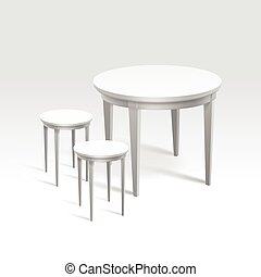 Vector Empty Round Table with Two Chairs Isolated on White...