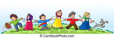 DANCING CHILDREN - Children in national costume run and...