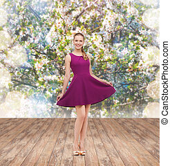 young woman in purple dress and high heels - beauty, fashion...