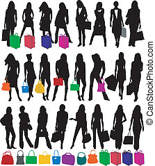 Fashionable woman silhouettes , vector work