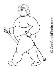 Nordic walking - Coloring page with obese woman practicing...