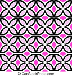 Seamless vector pattern with bold geometric shapes in 1970s...