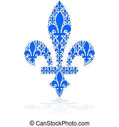 Fleur-de-lys - Concept illustration showing a blue...