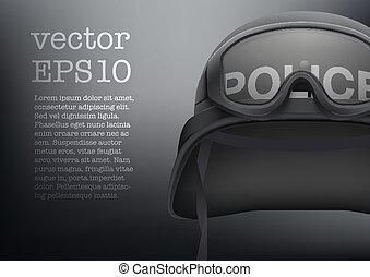 Background of police black helmet vector