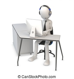 3d man working in a call center on white background