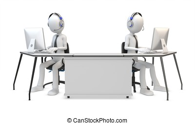 3d man working in a call center