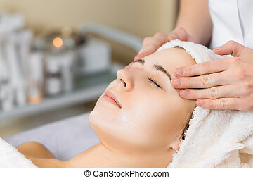 skin care, medical beautician makes massage face after...