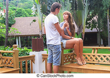 Young couple relaxing in exotic resort