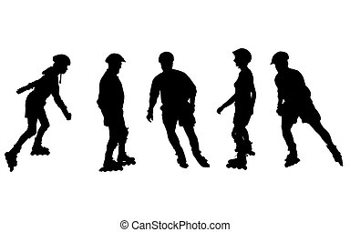 isolated inline skating silhouettes