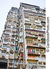 The old residential apartments in Macau