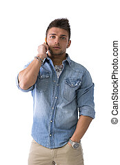 Handsome young man talking on cell phone mobile, isolated on...