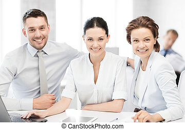 business team working in office - business team working with...