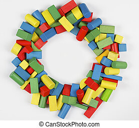 Toys blocks frame, multicolor wooden building bricks, group of colorful game pieces