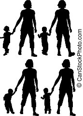 child - silhouette of woman with child