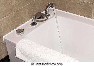 blanco, bañera, cuarto de baño, toalla