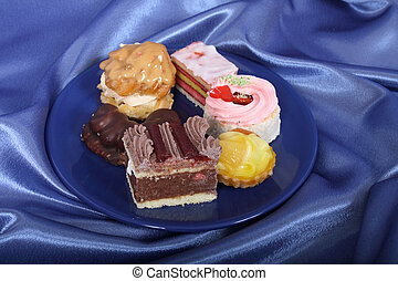 selection of sweet deserts on the plate