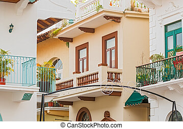 Casco Viejo, Panama city - Old houses in Cosco Viejo in...