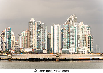 Panama City skyscrapers skyline on sunny day in January 2,...