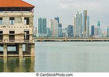 Panama City - Old Panama houses at Casco Viejo, and Panama...