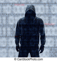 Binary codes with hacked password on black background