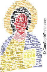 Jesus Christ Abstract Portrait 3D Word Cloud Concept Vector