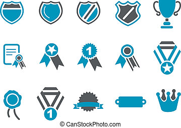 Badges Icon Set - Vector icons pack - Blue Series, badges...