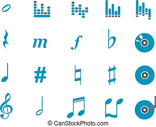 Music Icon Set - Vector icons pack - Blue Series, music...