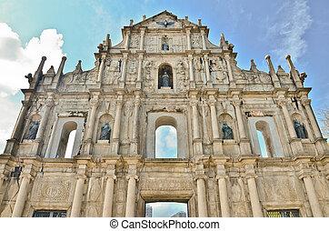 ruin of St.Paul church, macau, china - ruin of St.Paul...