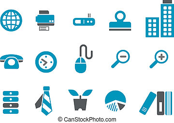 Office Icon Set - Vector icons pack - Blue Series, office...