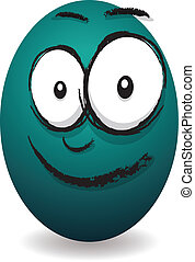 cartoon blue happy egg face