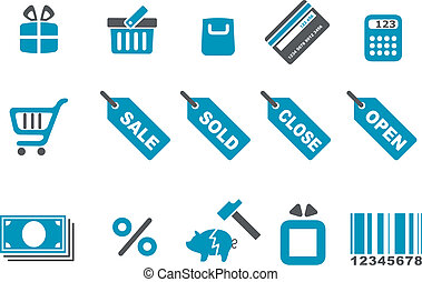 Shopping icon set - Vector icons pack - Blue Series,...