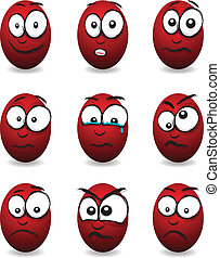 cartoon red egg faces