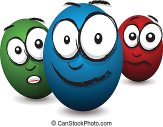 cartoon coloured egg face