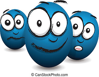 cartoon blue egg face
