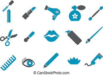 Make-up Icon Set - Vector icons pack - Blue Series, make-up...