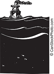 Steam Ship at Sea - Woodcut style image of a art deco steam...