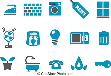 House Icon Set - Vector icons pack - Blue Series, house...