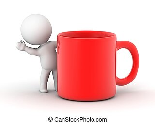 3D Man waving from behind red cup - A 3D guy waving from...