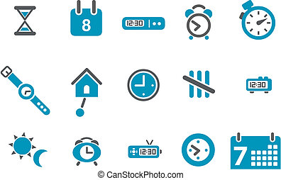 Time Icon Set - Vector icons pack - Blue Series, time...