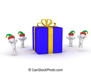 Wrapped Gift and 3D Elves - A large wrapped gift and 3d...