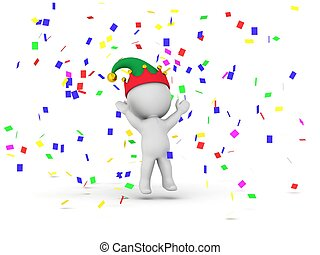 3D Man with elf hat and confetti
