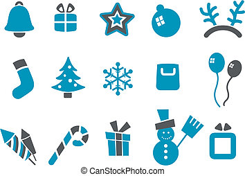 Christmas Icon Set - Vector icons pack - Blue Series,...