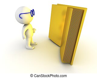 3D Character Illuminated by Book - A 3D character wearing...