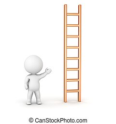 3D Man Showing Ladder - A 3D character showing a vertical...