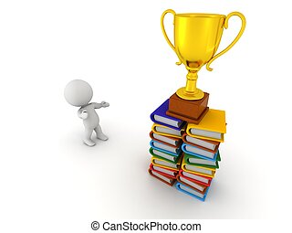 3D Character Books and Trophy - 3D Character looking up at a...