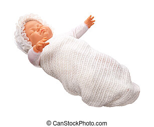 Antique Baby Doll isolated on a white background