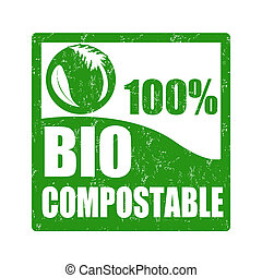 Bio compostable stamp - Bio compostable grunge rubber stamp...