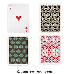 Vintage ace playing card with pattern back