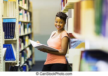 female african american college student in library
