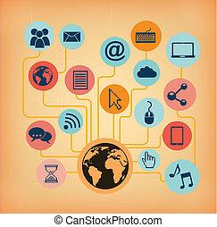 networking design over pink background vector illustration